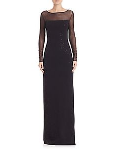 St. John - Sequined Milano Knit Ullusion Gown
