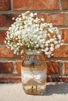 Interesting transposition of burlap and lace in a mason jar for flower table centerpieces at a rustic, country wedding--like a vineyard wedding! Can DIY. www.canyonwindcellars.com #rusticchicweddingscountry