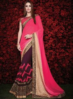 #Pink and #Wine Half and Half #Saree Features a beautiful Georgette skirt with zari, lace and stone work embellishments. Alongside with jacquard weave fabric shaded pink and cream pallu. Comes with wine net + raw silk blouse.