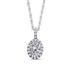 Sterling Silver Oval Cut Simulated Diamond Halo Pendant Necklace