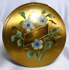 DORSET FIFTH AVE Enameled Floral FORGET ME NOT Vintage Brass Face Powder COMPACT
