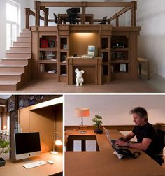 Cardboard office... mainly I love the Mickey in the fireplace.
