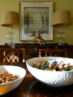 centerpieces don't have to be boring. tinker toys and pretzels on the dining room table is fun.