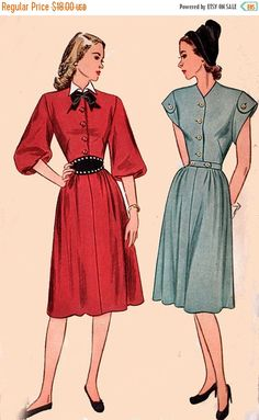 ON SALE 1940s Dress with Detachable Collar Simplicity 1739 Vintage 40s SWING Era Sewing Pattern  Size 16 Bust 34 by sandritocat on Etsy