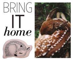 """""""Bring It Home: Bloomingville Powder Sleeping Deer Pillow"""" by polyvore-editorial ❤ liked on Polyvore featuring interior, interiors, interior design, home, home decor, interior decorating, Bloomingville and bringithome"""
