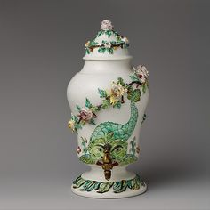 Fountain with cover and spigot, ca. 1745-50.  Mennecy Manufactory. Soft paste porcelain.  Metropolitan Museum of Art.