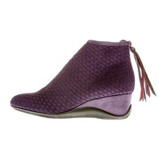 Fringe event. had to get them and they're vegan and comfy. TINA Eggplant Wedge Zip-Back Bootie
