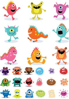Set of 27 funny vector cartoon monsters in different colors and shapes. These vector templates of monsters can be used in illustrations for children, Halloween designs and decorations, cards, posters, etc. Format: Ai or EPS stock vector clip art. Free…