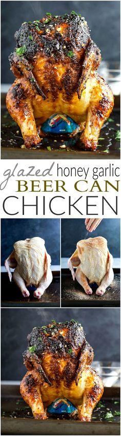 Amazing Glazed Honey Garlic Beer Can Chicken! Glazed Honey Garlic Beer Can Chicken – the most tender and juiciest chicken recipe EVER! Grilling Recipes, Cooking Recipes, Healthy Recipes, Free Recipes, Smoker Recipes, Healthy Eats, Grilling Ideas, Beer Can Chicken, Canned Chicken