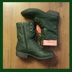 GREEN AMERICAN RAG MID-CALF BOOTS Faux leather Green color Mid-calf style boots Zipper up the back❤✌ AMERICAN RAG  Shoes