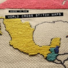 Cross Stitch World Map (15 Creative Ways to Keep Track of Your Travels).