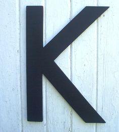 wooden letters black 20 inch letter k in arial font