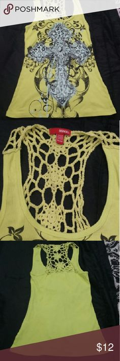 BONGO Fleur De Lis Crochet Lace Tank Neon yellow tank top with crochet lace back. Features a leopard print fleur de lis cross design in mint green, surrounded by other floral designs. Gently loved. Great condition! FINAL MARKDOWN BONGO Tops Tank Tops