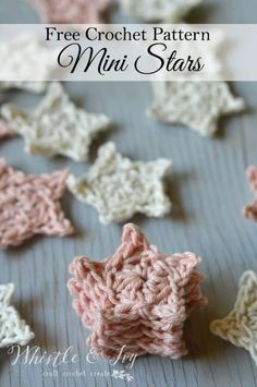 Mini Crochet Stars - Whistle and Ivy - Leigh Garchow - Mini Crochet Stars - Whistle and Ivy Free Crochet Pattern - Mini Crochet Stars Crochet Diy, Crochet Gratis, Crochet Motif, Crochet Appliques, Crochet Ideas, Crochet Designs, Crochet Star Patterns, Crochet Stars, Crochet Flowers