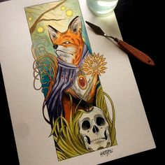 Done one more fox with skull #paint #fox #skull #tattoo #inked #neotrad #neotradtattoo #neotraditional #love #au #melbourne