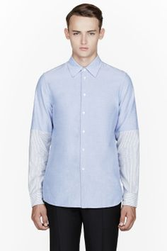 MARNI Blue Oxford Stripe-paneled Shirt