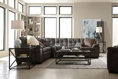 Legend Gray II Leather Collection - Value City Furniture-2 Pc. Sectional $1,099.99 #VCFwishlist