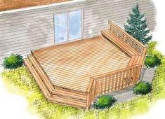 simple small deck plan | Basic Ground Level Deck Plans #deckbuildingtips