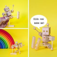 Build a simple articulated wooden robot! It is a great engineering project to teach kids how articulation works and a perfect woodworking project for beginners. Woodworking Lessons, Woodworking Projects For Kids, Wooden Projects, Art Projects, Diy For Kids, Crafts For Kids, Wooden Toy Trucks, Diy Robot, Robots For Kids