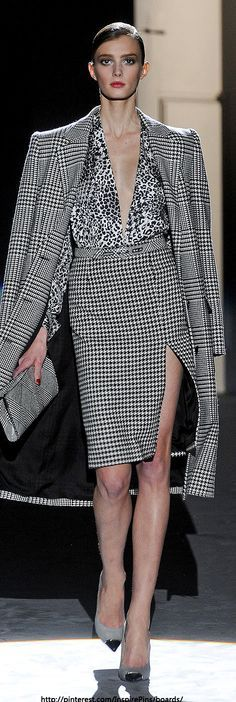 Houndstooth Pencil Skirt Long Houndstooth Duster Jacket Black and White Blouse and Gray High Heels