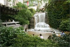 Greenacre Park, NYC. We stopped here with Alex after visiting the UN on a really hot June day. Refreshing!