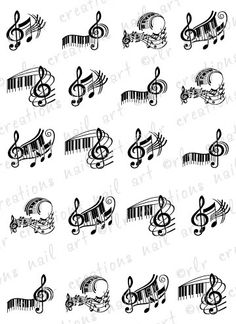 Music Note Drawings | 20 Piano Keys and Music Note Asst Water Slide Nail Art Decals Music ...
