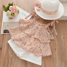 Melario Casual Girls Clothing Sets Summer Kids Clothing Set Cute floral T-shirt shorts Suit Kids Clothes Girls Suit outfits. Baby Dress Design, Frock Design, Kids Outfits Girls, Little Girl Dresses, Cute Baby Dresses, Dress Girl, Girls Dresses, Baby Outfits, Baby Girl Fashion