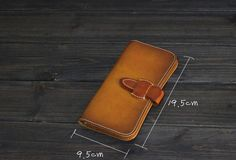 Handmade Men long leather wallet men vintage tan brown coffee wallet f | EverHandmade