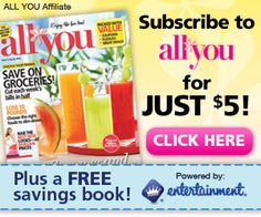 Subscribe to All You Magazine For Just $5 and Get a FREE Entertainment Savings Book!