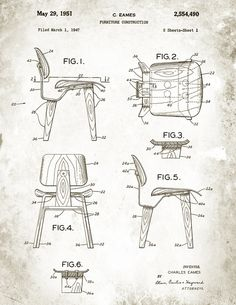 Patent Illustration from the Charles Eames DCW chair. Next step - 3D Printed Version.