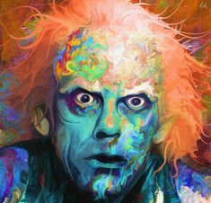 Psychedelic Doc Emmett Brown Art by Nicky Barkla - Back to the Future - Christopher Lloyd