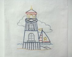 Towel Embroidered Lighthouse And Sailboat Nautical Flour Sack Kitchen Towel by luvinstitchin4u on Etsy