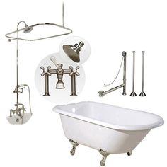 Randolph Morris 60 Inch Clawfoot Tub Shower Package with British Telephone Faucet - Bathtub Packages - Bathtubs - Bathroom