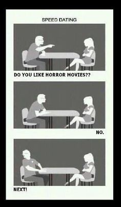 Horror Movies speed dating Funny Horror, Horror Films, Horror Icons, Cinema, Speed Dating, Lol, Disney Memes, Thats The Way, Cover Pics