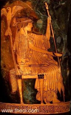 Hera, queen of the gods, enthroned | Greek vase, Athenian red figure lekythos