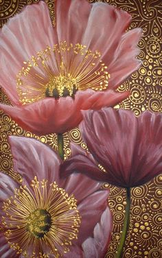 Pink Poppies ~ artist Cherie Dirksen; c.2009; chalk pastel & acrylic, 32.5cm x 50cm. Private collection.  #art #painting #floral