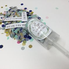 Create a picture perfect moment and surprise a special someone with this fun Confetti POP? Each push pop is brimming with brightly coloured tissue paper confetti topped off with hand-cut foil, then hidden inside is a secret message. HOW TO CUSTOMISE... When placing your order please use the area