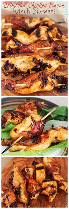"Sriracha Chicken Bacon Ranch Skewers ~Sounds awesome!  ""Chicken Marinated in Bacon Ranch and Kicked up with Sriracha then Grilled on Skewers with Bacon!"""