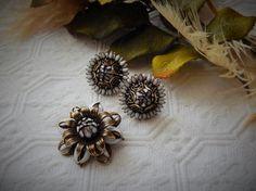 Vintage Antiqued Gold Bronze White Enamel Earrings & by bijoullery