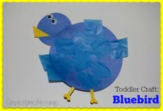 Toddler Craft: Blue Bird_a simple craft for little hands to teach color and shape recongnition