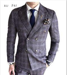 2017 years bride and groom temperament sundai man English dark lattice double breasted suit suit businessman business suit Blazer Suit, Suit Jacket, Double Breasted Blazer, Groom, English, Costumes, Bride, Suits, Business