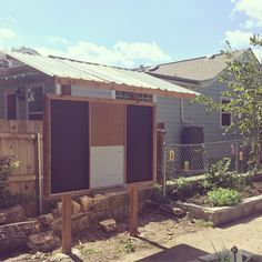 Outdoor bulletin board community garden Becker Green Classroom