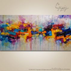 Welcome To Our Studio! -------------------- Hand Painted Modern Original Abstract Paintings by Gabriela and Catalin! ---------------------------------------------------------------------------- Title: Love Drops #2 Size: 60x30x1.25 Stretched canvas, gallery profile,