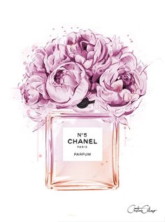 Chanel perfume illustration with peonies. Print out and place in frame for decor.