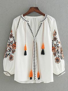 Flower Embroidery Tassel Tie Blouse SheIn(Sheinside) is part of Women shirts blouse - Kurta Designs, Blouse Designs, Stylish Dresses, Fashion Dresses, Estilo Hippie, Looks Chic, Embroidery Dress, Embroidery Shop, Machine Embroidery