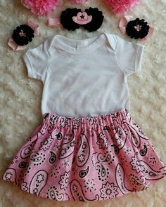 Cowgirl Onsie OutfitReboorn Pink by CraftyGiftsByMumsy Baby Girl Items, Black Headband, Cowgirl Outfits, Bare Foot Sandals, Photo Props, Barefoot, Baby Shower Gifts, Skirts, Pink