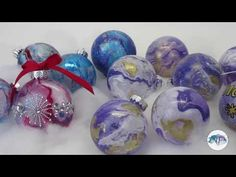DIY Christmas Ornaments - Spray Paint on Water Transfer. I will show you, step by step, how to make fascinating original ornaments for your Holiday decor. IMPORTANT * * * Please note that you have to use OIL based spray paints (like craft enamel paint) Letter Ornaments, Clear Ornaments, Glass Christmas Tree Ornaments, Painted Ornaments, Noel Christmas, Christmas Balls, Christmas Projects, Xmas, Diy Spray Paint