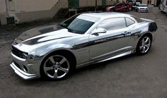 """2011 Chevy Camaro - No this is not from a video game, it's real """"chrome"""" foil wrap from Tintek."""