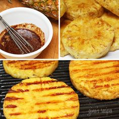 Grilled pineapple with honey, lime juice and cinnamon. Pineapple is delicious on it's own, but if you want something quick and easy to make for dessert this summer, try grilling it and serving it with some ice cream on the side. Fun for backyard parties! Grilled Pineapple Skinnytaste.com Servings: 8 servings • Size: 1 slice • Points +: 1 pts • Smart Points: 2 Calories: 51 • Fat: 0.8 g • Carb: 12 g • Fiber: 0.9 g • Protein: 0.3 g • Sugar: 10.4 g Sodium: 0.9 mg Ingredients: For the marinade...