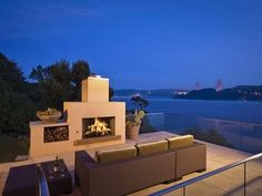 Contemporary Beach House Design with Outdoor Fireplace Decor in California